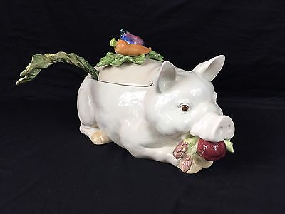Fitz & Floyd Pottery French Market Pig Soup Tureen W/Serving Ladle