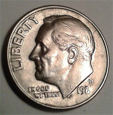 198?-D Roosevelt dime error coin, missing year in date,