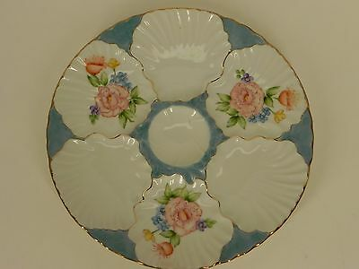 """Vintage Germany Hand Painted Porcelain Oyster Plate 9 1/2"""""""