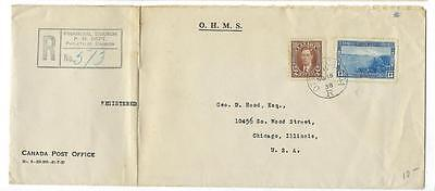 1938 Canada To USA Registered Official Cover - (FF70)