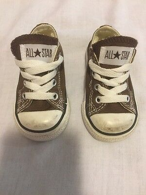 Converse Brown Shoes Size 4 Toddler Baby Chuck Taylor Low Sneakers All Star