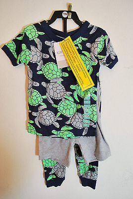 NWT Carter/'s Boys Cotton 3 Piece Sea Turtles Pajama Set Navy Gray Green