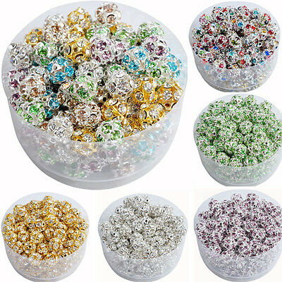 10Pcs Austria Crystal Spacer Loose Beads Charms DIY Jewelry Making 6 8 10mm