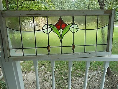 V-507 Older & Beautiful LARGE Transom Leaded Stained Glass Window From England