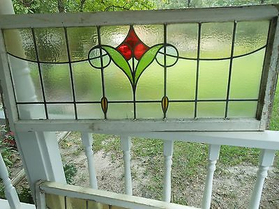 V-507A Older & Beautiful LARGE Transom Leaded Stained Glass Window From England
