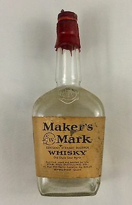 Vintage Maker's Mark Bottle Quart Tax Seals Kentucky Bourbon Collectible Liquor