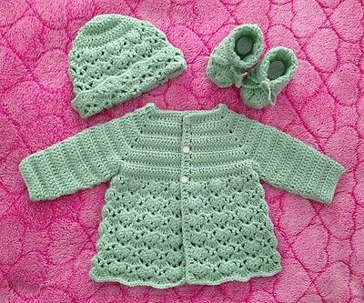 Crochet Matinee Cardigan, Beanie and Booties Set, 0 to 3 month baby - new