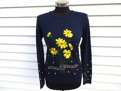 Vintage 70's Flower Sweater LeRoy Knitwear He Loves Me Not Novelty Embroidered