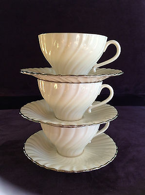 Gladding McBean Franciscan Platina Masterpiece fine china 3 cup & saucer sets