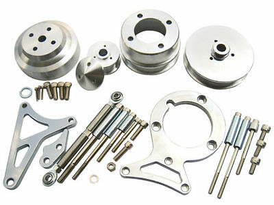 79-93 Mustang 5.0L SB Ford 302 Pulley & Bracket Kit Foxbody Serpentine Aluminum