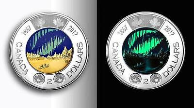 Lot of 15 2017 Canada 150th Commemorative 2 Dollar Coin Glow In The Dark UNC