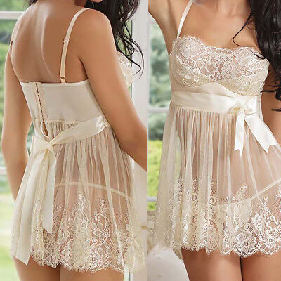 Women's-Sexy-Lace-Lingerie-Sleepwear-Underwear-Babydoll-Nightwear-G-string-Dress