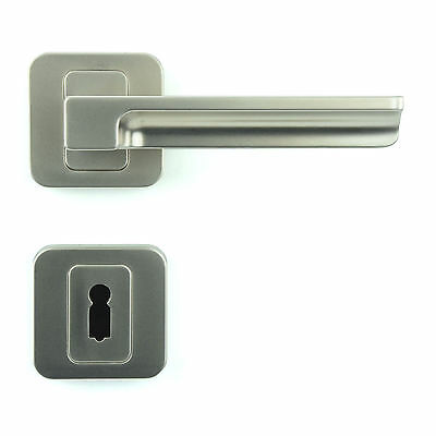 Interior Door Handle Set - Lever on Rose - Gloss Nickel - Plated Finish ZA5