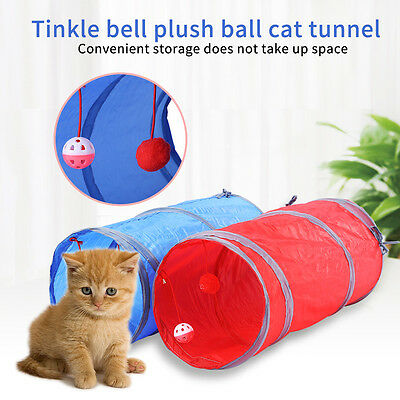 1x Funny Pet Cat Kitten Tunnel Toy Playing Tube With Tinkle Bell & Plush Ball LJ