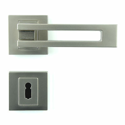 Interior Door Handle Set - Lever on Rose - Gloss Nickel - Plated Finish ZA6