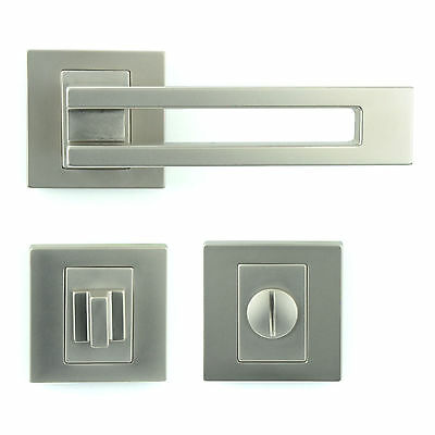 Bathroom WC Door Handle Set - Lever on Rose - Gloss Nickel - Plated Finish ZA6