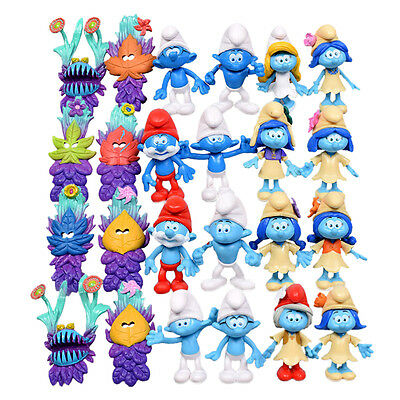 24pcs/Lot Smurfs The lost Village Smurfette Clumsy Action Figures Play Set Toy