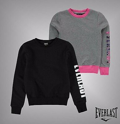 Junior Girls Branded Everlast Stylish Logo Crew Neck Sweater Top Size Age 7-13