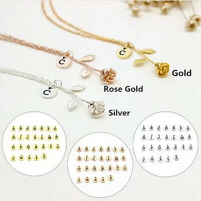 Womens Fashion Rose With Capital Initial Pendant Necklace Jewelry Gift Hot Chic