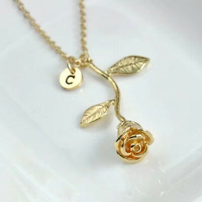 Womens Fashion Rose With Capital Initial Pendant Necklace Jewelry Gift Masterly