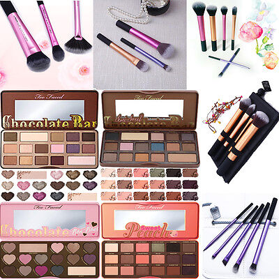 Makeup Brushes Core Collection And Eyeshadow Palette Semi-Sweet Chocolate Bar
