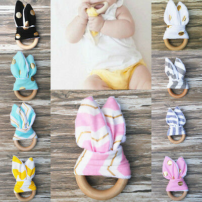 Toy Baby Kids Teether Natural Infant Wooden Bunny Teething Ring Sensory Handmade