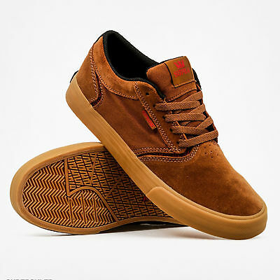 Supra Mens Shredder Lace Up Active Gym Lo Top Brown Red Gum Trainer