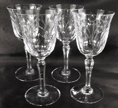 Elegant Signed Tiffin Glass Chardonnay Cut Wine Glasses Set of 4 Exc Cond