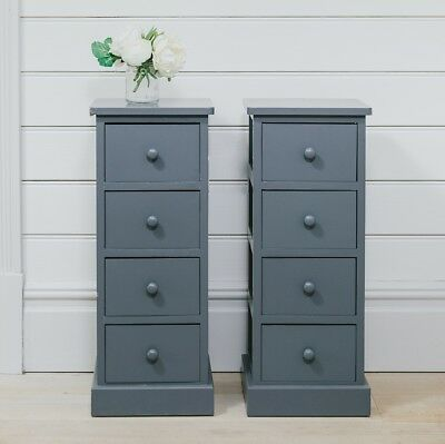 Pair of Tall Wooden Bedside Cabinets Tables, Graphite Tall Boy bedroom Furniture