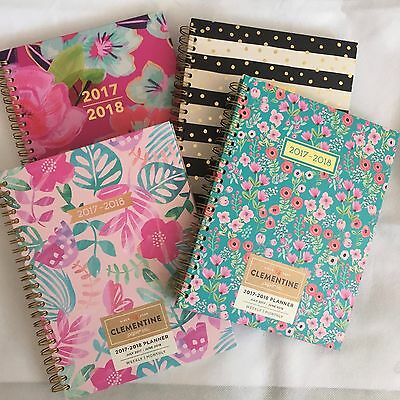 Clementine Paper Planner Monthly Weekly 2017-2018 Agenda Spiral Floral, Striped