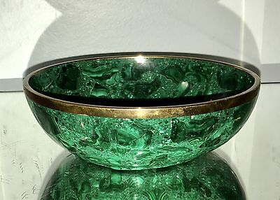 Amazing Vintage Natural Malachite and Gilt Bronze Carved Bowl