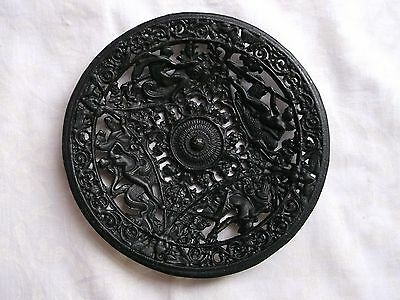 Vintage Cast Metal Intracately Pierced Wall Plaque - Roman Gods - Coalbrookdale?