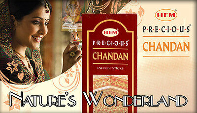 PRECIOUS CHANDAN Sandalwood Incense - HEM 6 x 20gm Hex 1 FULL BOX = 120 Sticks