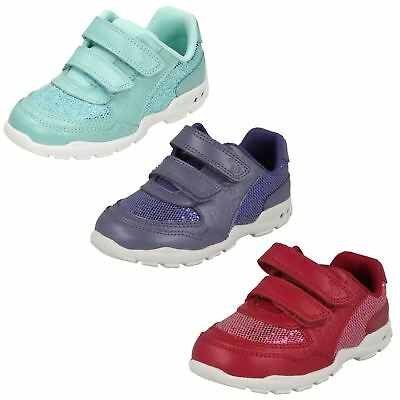 Girls Clarks Brite Play Fst Aqua, Purple, Pink Leather First Walking Trainers