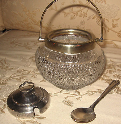 ANTIQUE  1920C  Crystal & Silver P. MASTER LIDDED 'SUGAR' BOWL with SPOON