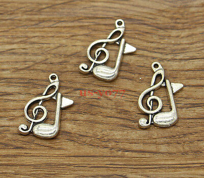 30pcs Treble Clef Charms 2 Sided Singing Charms Antique Silver Tone 10x26 1040