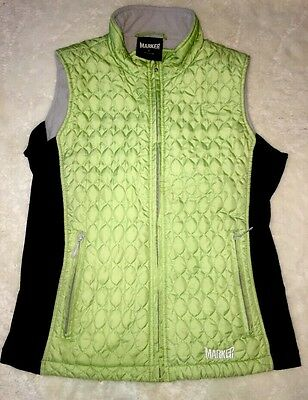 Women's Marker lime green quilted fleece lined vest size Small Warm Ladies Zip