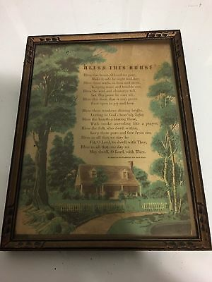 """Antique """"House Blessing"""" Print in ART DECO Carved Wood Frame 13"""" x 10"""""""