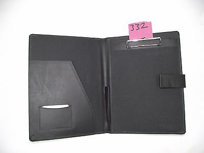 A4 Black  Leather folder with clipboard (style 332) also holds A4 diary