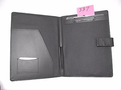 A4 Black  Leather folder with clipboard (style 337) also holds A4 diary