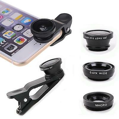 3in1 Fish Eye+Macro+Wide Angle Clip On Camera Lens Kit For iphone Samsung LG HTC