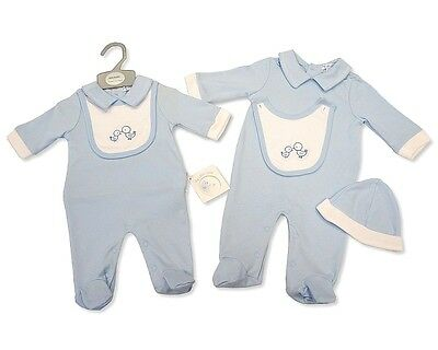 Baby Boys Traditional Style Outfit Romper Babygrow Bib  & Hat Set  AW'17