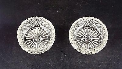 2 Early American Antique Cut Glass Crystal Diamond & Fan Master Salt Cellars