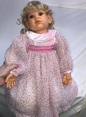 Baby Faced Resin Collectible doll - unknow artist - pink flowery dress