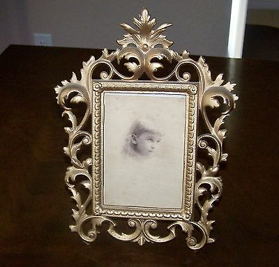 """Vintage Gilded Iron Easlel Table Picture Frame Rococo Victorian Style 9"""" x 12"""""""