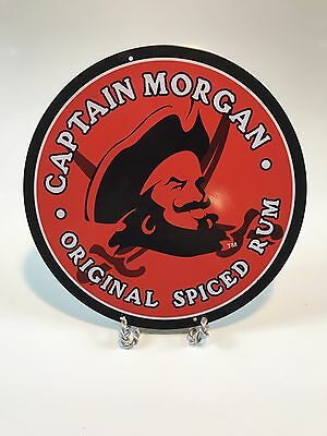 """Captain Morgan Original Spiced Rum 12"""" Round Red Metal Wall Sign"""