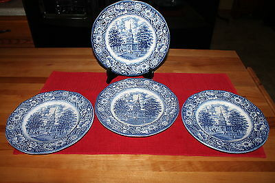 Liberty Blue Staffordshire Lot Of 4 Dinner Plates Independence Hall