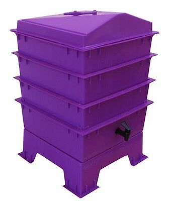 Purple DELUXE WORMERY KIT, 4 x Stacking Tray, Composter, Worm Treats, Compost