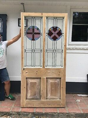 Large Victorian Stained Glass Front Door Hardwood Reclaimed Old Period Antique 1
