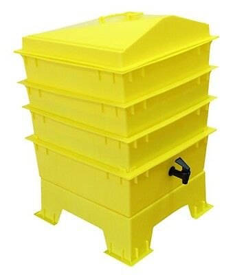 Yellow DELUXE WORMERY KIT, 4 x Stacking Tray, Composter, Worm Treats, Coir, NEW